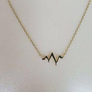 Sterling Silver Gold Vermeil Heartbeat Necklace